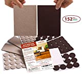 Seddox PREMIUM Felt Furniture Pads TWO COLORS SET (BROWN + BEIGE) - 152 Pieces Including BONUS Rubber Bumper Pads - Extra Adhesive Chair Leg Hardwood Floor Protectors for Wood and Laminate Flooring