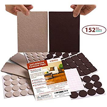 4626939b267 Seddox PREMIUM Felt Furniture Pads TWO COLORS SET (BROWN + BEIGE) - 152  Pieces Including BONUS Rubber Bumper Pads - Extra Adhesive Chair Leg  Hardwood Floor ...