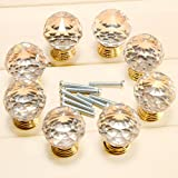 Surepromise 8pcs Crystal Clear Cut Door Knobs 30mm Kitchen Cabinet Drawer Handle + Screws