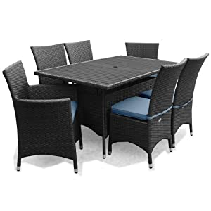 Appledore Rattan Garden Patio Furniture 6 Seater Rectangular Dining Set  Black