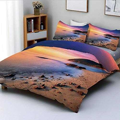 (Duplex Print Duvet Cover Set Full Size,Famous Mediterranean Sun Rise on The Beach with Pebbles Tourism Serene PrintDecorative 3 Piece Bedding Set with 2 Pillow Sham,Multi,Best Gift for Kids & Adult)