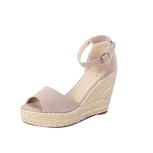 Lvguang Mujer Grueso Sandalias con Cuña Peep Toe Cabeza Pescado Zapatos De  Tacón Alto Chancletas Zapatillas  Amazon.es  Zapatos y complementos 118af7507c46