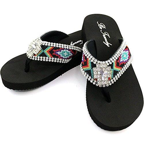 Western Peak Women's Aztec Design Full Rhinestones Cross Concho Multicolor Flip Flop Sandals (M (Aztec Design)