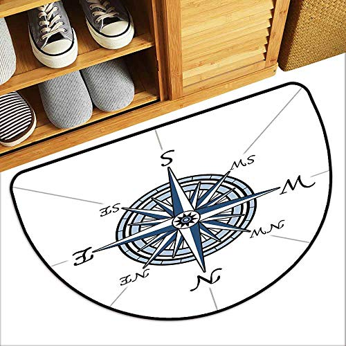 YOFUHOME Compass Bathroom Suction Door mat Sea Color Themed Voyage Windrose Discovery Marine Design Work of Art Mildew Proof W31 x L19 Blue Light Blue Black