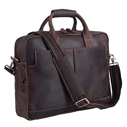 (Polare Men's Sturdy Genuine Leather 16'' Laptop Bag Briefcase Shoulder Bag)
