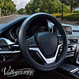 Valleycomfy Black Genuine Leather Auto Car Steering Wheel Cover Universal 15 inch for Accord Camry