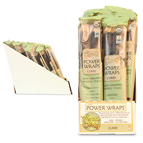 Gopal's Curry Power Wraps, Vegan and Gluten-Free Organic Food, Raw and USDA Certified Nori-Wrapped Energy Sticks 1.8 Ounces (Pack of 24) by Gopal's (Image #1)