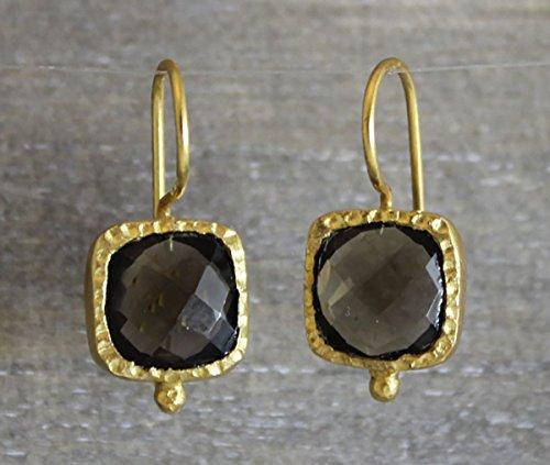 Smoky Smokey Quartz Gold Plated Sterling Silver Drop Earrings (Gold Plated Smokey Quartz)