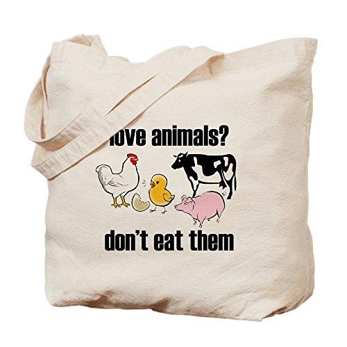 CafePress Love Animals Don't Eat Them Copy Natural Canvas Tote Bag, Cloth Shopping Bag