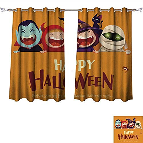 Blackout Curtains Happy Halloween Party Group of Kids in Halloween Costume with Big Signboard Darkening Bedroom and Living Room Curtains W55 x L39/Pair -