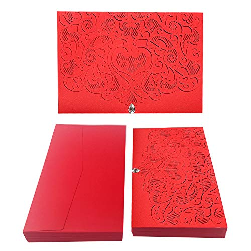 50PCS Paper Laser Cut Bronzing Wedding Baby Shower Invitation Cards with Butterfly Hollow Favors Invitation Cardstock for Engagement Birthday Graduation (Diamond-Red) (Best Paper For Wedding Invitations)