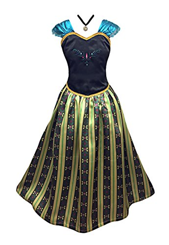 American Vogue Girls Princess Anna Elsa Coronation Dress Costume with Choker Necklace (10-11 Years & Necklace, (Elsa Costume Coronation)