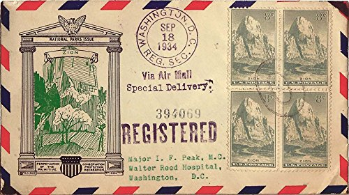 747 8c Zion National Park Block of four 1934 Washington, D.C. Reg. Sec. Registered Airmail Special Delivery Local Use. J. A. Roy Cachet Planty 747-32 on Airmail Envelope. Typewrit ()