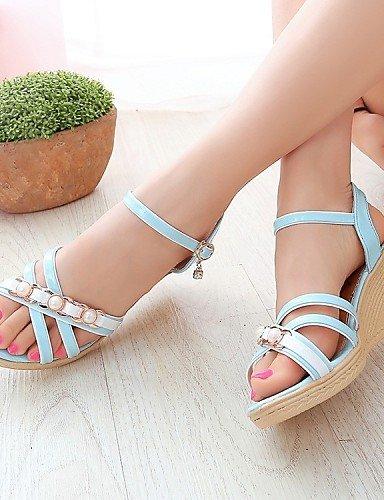 LFNLYX Zapatos de mujer-Tacón Cuña-Cuñas / Punta Abierta / Punta Redonda-Sandalias-Exterior / Casual-Semicuero-Azul / Rosa / Beige Pink