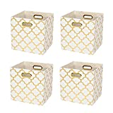 Posprica Collapsible Storage Cubes Bin Boxes Containers Drawers Organizer Baskets with Metal Handles for Toy,Clothes,Laundry - 4pcs,11''×11'', White-Gold Lantern