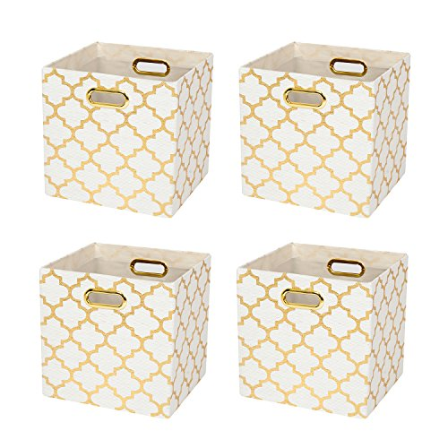 Posprica Collapsible Storage Cubes Bin Boxes Containers Drawers Organizer Baskets with Metal Handles for Toy,Clothes,Laundry - 4pcs,11''×11'', White-Gold Lantern -
