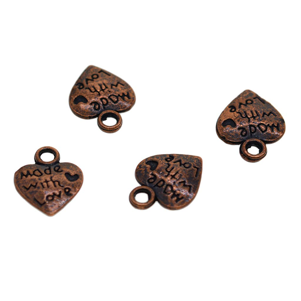 Baoblaze Lots 100 Ancient Copper Plated Made with Love Heart Charms Pendant Beads DIY Jewelry Findings 12x10mm