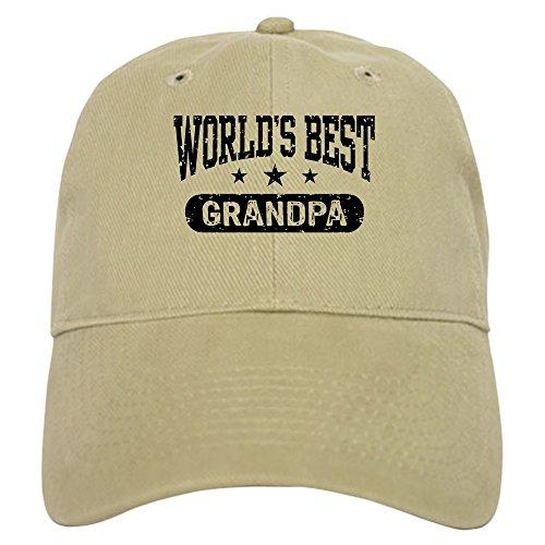 CafePress World's Best Grandpa Baseball Cap with Adjustable Closure, Unique Printed Baseball Hat Khaki