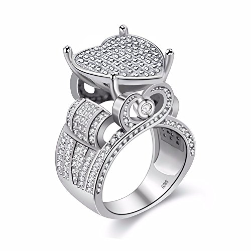 (Uloveido Womens Luxurious White Gold Plated Simulated Round Diamond Hollow Love Heart Elevated Cluster Party Favor Ring (Size 8))