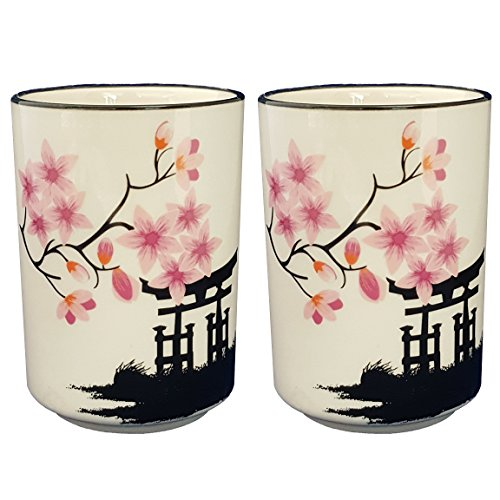 Happy Sales HSCM-TCBWP2, Perfect 2 pc White and Pink Blossom Japanese Teacups Mugs (Blossom Pink Cup)