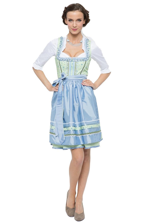 Alpenfee Damen Mini Dirndl Daria hellblau/hellgrün D010258