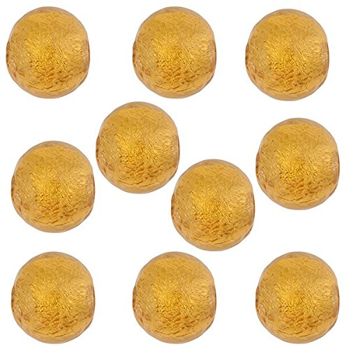 (Round 6mm 24kt Gold Foil Murano Glass Bead Encased in Amber Glass 10 Pieces)