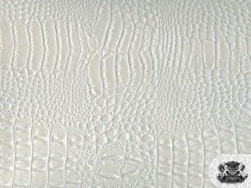 Nice Vinyl Crocodile GATOR PEARL WHITE Faux / Fake Leather Fabric By The Yard