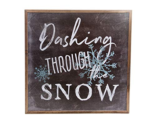 """ReLive - """"Dashing Through The Snow"""" Painted Chalkboard Style Holiday Wooden Sign ()"""
