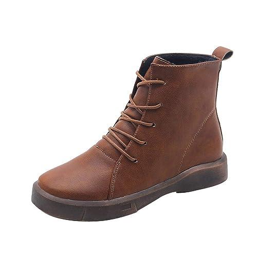 Ansenesna Stiefeletten Damen Braun Leder Flach Elegant Schuhe Frauen  Mädchen Mode Vintage Zum Schnüren Boots  Amazon.de  Schuhe   Handtaschen 6d00a063de