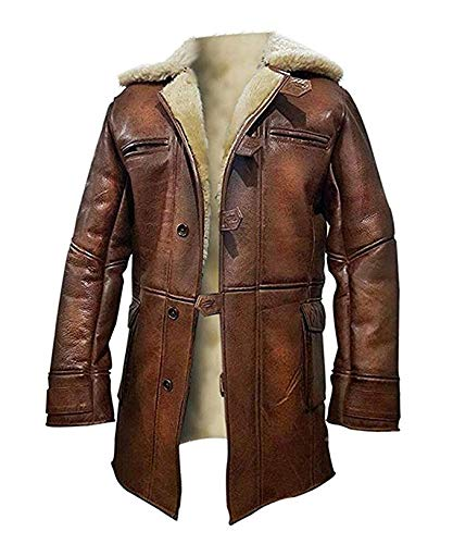 (NM Fashions Tom Hardy Bane Dark Knight Lambskin Shearling Genuine Leather Pea Coat, Brown, X-Large)