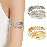 OCTCHOCO Gold Silver Feather Upper Arm Cuff Fashion Armlet Adjustable Bangle Bracelet
