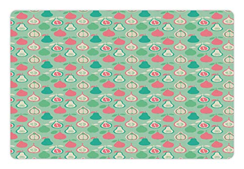 Lunarable Nursery Pet Mat for Food and Water, Colorful Pattern of Pear Pomelo and Quince Exotic Fruits Image, Rectangle Non-Slip Rubber Mat for Dogs and Cats, Almond Green Multicolor