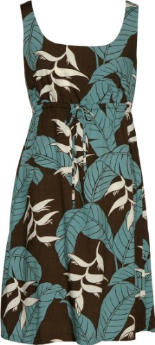 [RJC Womens Ginger Heliconia Jungle Empire Tie Front Short Tank Dress in Brown - 4X Plus] (Jungle Outfit)