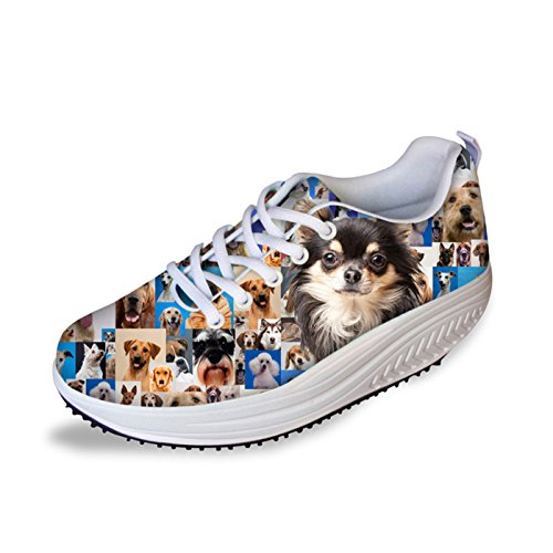 Dellukee Fashion Womens Sneakers Dog Pattern Printed High Heel Casual Walking Shoes Dog 1 rmR0IGY