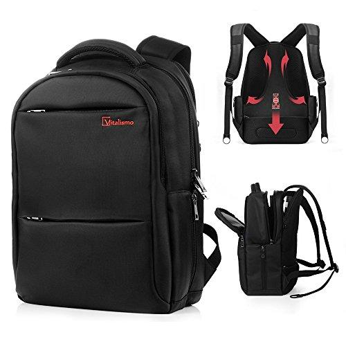 Laptop-Rucksack - Vitalismo rucksack mit laptopfach geeignet für 15,6 Zoll / 39,6 cm Laptop/Notebook Rucksack (Schwarz)