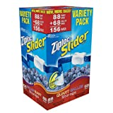Ziploc Easy Zipper Variety Pack - 156 Bags (including 88 Quart Size Bags & 68 Gallon Size Bags)