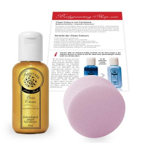 Farbstark Bodypainting Farben - hautfreundliche Körperfarbe in Profi Qualität (auch für Airbrush geeignet), Set: 50 ml Farbe Gold + Schminkschwamm