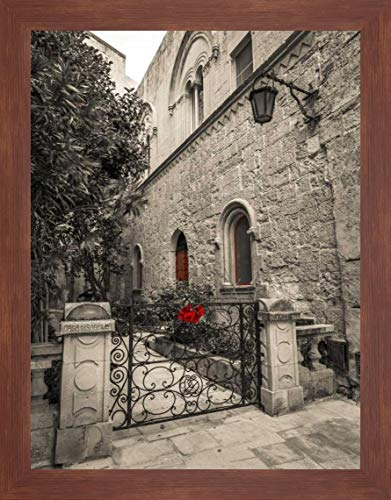 "Traditional Maltese House, Mdina, Malta by Assaf Frank - 31"" x 40"" Framed Giclee Canvas Art Print Walnut Finish - Ready to Hang"