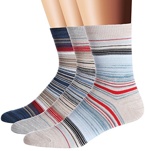 Flora&Fred Men's 3 Pair Pack Vintage Style Pioneer Stripe Cotton Crew Socks (Cotton Stripe Socks)
