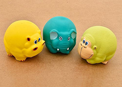 CatYou 3PCS Latex Dog Squeak Toys, Chew Molar Dog Toy, 3″ Diameter, for Puppy Small Medium Dogs