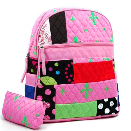 dasein-womens-patchwork-quilted-backpack-w-convertible-shoulder-straps-pink-green