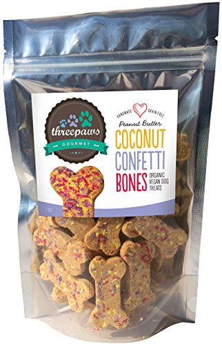 Gourmet Dog Bone (Confetti Bones, Apple and Peanut Butter Gourmet Organic and Vegan Dog Treats - Gluten Free, Grain Free)