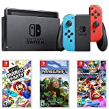 Nintendo Switch 32 GB Console w/Neon Blue and Red Joy-Con (HACSKABAA) + Gaming Bundle Includes, Mario Kart 8 Deluxe, Super Mario Party Switch Minecraft