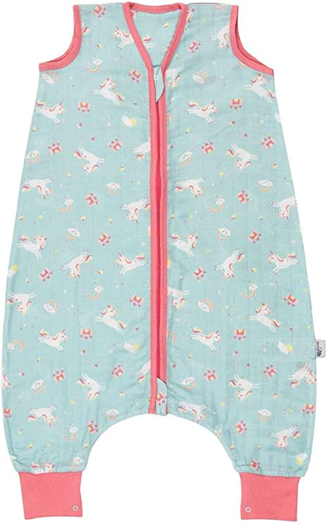 Saco de dormir con pies de muselina de bambú para el verano sin forro en diferentes diseños para niños y niñas. unicornio Talla:Füße 80 cm: Amazon.es: Bebé