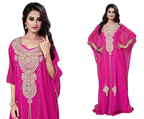 110c2ecb108 OKM Women s Dubai Style Kaftan Caftan Farasha Maxi Dress DN25 - Pink