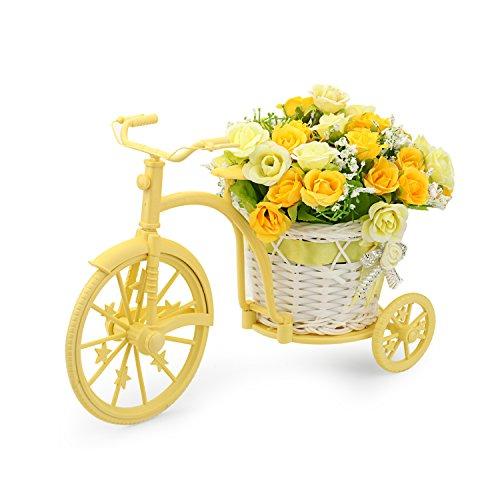 Louis Garden Nostalgic Bicycle Artificial Flower Decor Plant Stand (Yellow) from Louis Garden