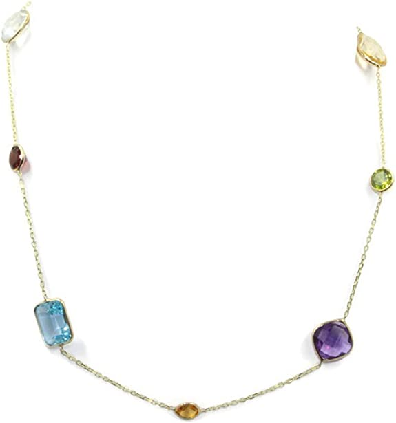 Details about  /Mult-color Gemstones 16 Inches Necklace 14k White Gold Chain with Lobster Lock