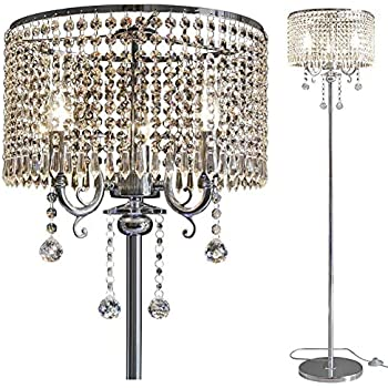 Surpars House Raindrop Crystal Floor Lamp Chrome Finish
