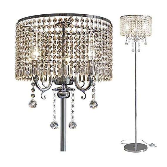 Hsyile Lighting KU300153 Elegant Designs Crystal Floor Lamp Chrome Finish,2 Lights - High Quality Raw Materials: Handpicked crystal,good light transmittance,throught a number of processes polished and refined. Size:13-Inch L x 13-Inch W x 59-Inch H (Need assembly and Easy to Install). 110V, 2 x 40Wattage Max, required E12 light bulb (bulb not included). Compatible with various types of E12 bulbs,such as incandescent,LED,CFL,halogen and Edison bulbs. ON/OFF switch located on cord,convenient to use. - living-room-decor, living-room, floor-lamps - 51RgYrH1tFL. SS570  -