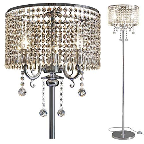 Hsyile Lighting KU300153 Elegant Designs Crystal Floor Lamp chrome Finish,2 Lights
